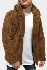 ブラウンソリッドフリースボタンメンズフード付きジャケット