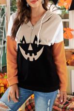 Halloween Pumpkin Face Color Block Quarter Zip Hoodie