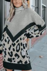 그레이 터틀넥 셰브론 레오파드 니트 스웨터 드레스