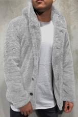 グレーのソリッドフリースボタン付きメンズフード付きジャケット