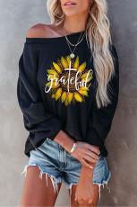 Leopard Sunflower Letter Print Crew Neck Sweatshirt