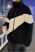 Color Block Zip-up High Neck Fleece Men's Jacket