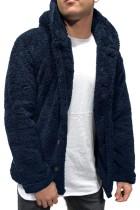 ネイビーソリッドフリースボタンメンズフード付きジャケット