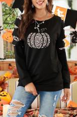 Halloween-leopard-pumpa med utskuren tröja