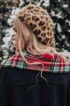 ヒョウ柄ニットベレー帽