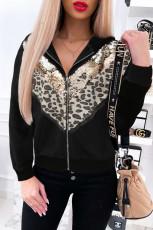 블랙 쉐브론 시퀸 레오파드 패치워크 집업 재킷