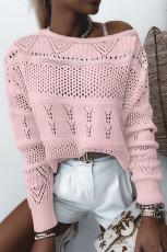 Pletený svetr s kapucí v růžovém provedení