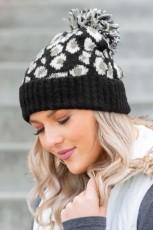 Musta leopardi -ribbineulottu neulottu hattu