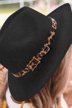 Black Leopard Print Patchwork Hat