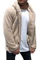 アプリコットソリッドフリースボタンメンズフード付きジャケット