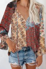 Πολύχρωμη Floral Print Drawstring Μακρυμάνικη μπλούζα με μανίκια