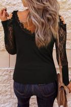 Lace Splicing Cold Shoulder Långärmad blus