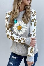 Leopard Sleeve Daisy Butterfly Graphic Långärmad topp