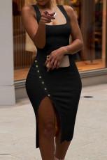 Svart knapp design klänning utan ärmar