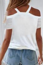 Beyaz Çizgili Reglan Kol Soğuk Omuz V Yaka Bluz