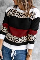 와인 레드 크루넥 레오파드 컬러 블록 니트 풀오버 스웨터