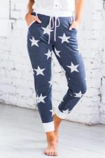 Joggers da donna con stampa stelle blu