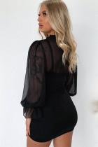 Genomskinlig Mesh Patchwork Puff Sleeve Bodycon Mini Dress