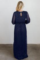 Blue Side Split Rhinestone Maxiklänning med V -ringning