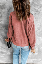 Vaaleanpunainen Ribbed Corduroy -pitkähihainen takki, jossa tasku