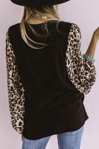 Leopard Pumpkin Print Splicing Långärmad blus