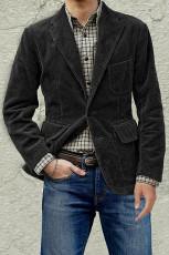 Siyah Cepli Yaka Yaka Ribanalı Erkek Ceket