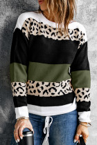 Grüner Pullover mit Rundhalsausschnitt und Leopardenmuster