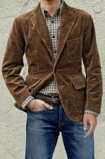 Kahverengi Cepli Yaka Yaka Ribanalı Erkek Ceket
