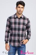 Plaid Pocketed Herrknäppt skjorta