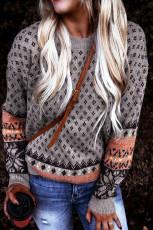 Πουλόβερ Taupe Boho με τυπωμένο πουλόβερ