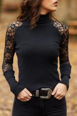 ブラックレースかぎ針編みリブ編みタートルネック長袖トップス