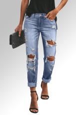 Sky Blue Distressed Straight Leg Jeans