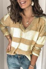 Khaki Striped Lace Splicing Tröja med V -hals