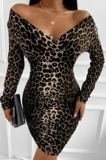 Leopard Off Shoulder långärmad bodycon miniklänning