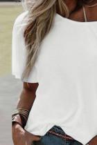 Vit, kortärmad löst T -shirt med rund hals