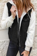블랙 셰르파 데님 스플라이싱 버튼 재킷