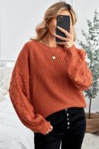 브라운 버블 슬리브 크롭 니트 스웨터