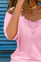 Rosa spets Splicing Cold Shoulder kortärmad T-shirt