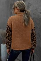 Brun leopard raglanärm med dragkedja och Sherpa -rock