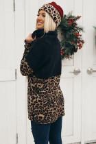 Leopard Block Splicing Zip Pullover Sweatshirt