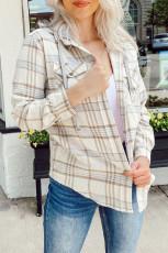 Khaki Plaid Hooded Shirt Coat