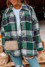 Grön plädtryckt skjortjacka med knapp