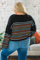 Musta sateenkaari raidallinen Print Plus -koko villapaita