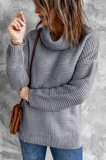 Szary, przytulny, długi rękaw, sweter z golfem