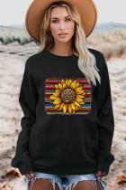 Czarna bluza pulowerowa w panterkę w słoneczniki