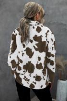 Zapinany na guziki, polarowy płaszcz z nadrukiem w krowy
