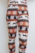 Hässliche Weihnachtsbaum-Rentier-Print-Leggings mit hoher Taille