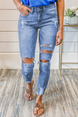 Skinny Jeans im Used-Look mit mittlerer Waschung