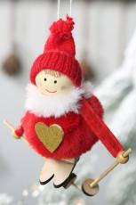 Röd plysch julgran hängande docka