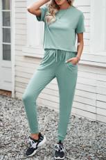 Vihreä mukava puuvillainen T-paita Housusetti